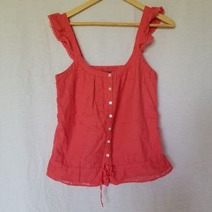 LUCKY BRAND CORAL BUTTON FRONT CROCHET TOP SIZE S
